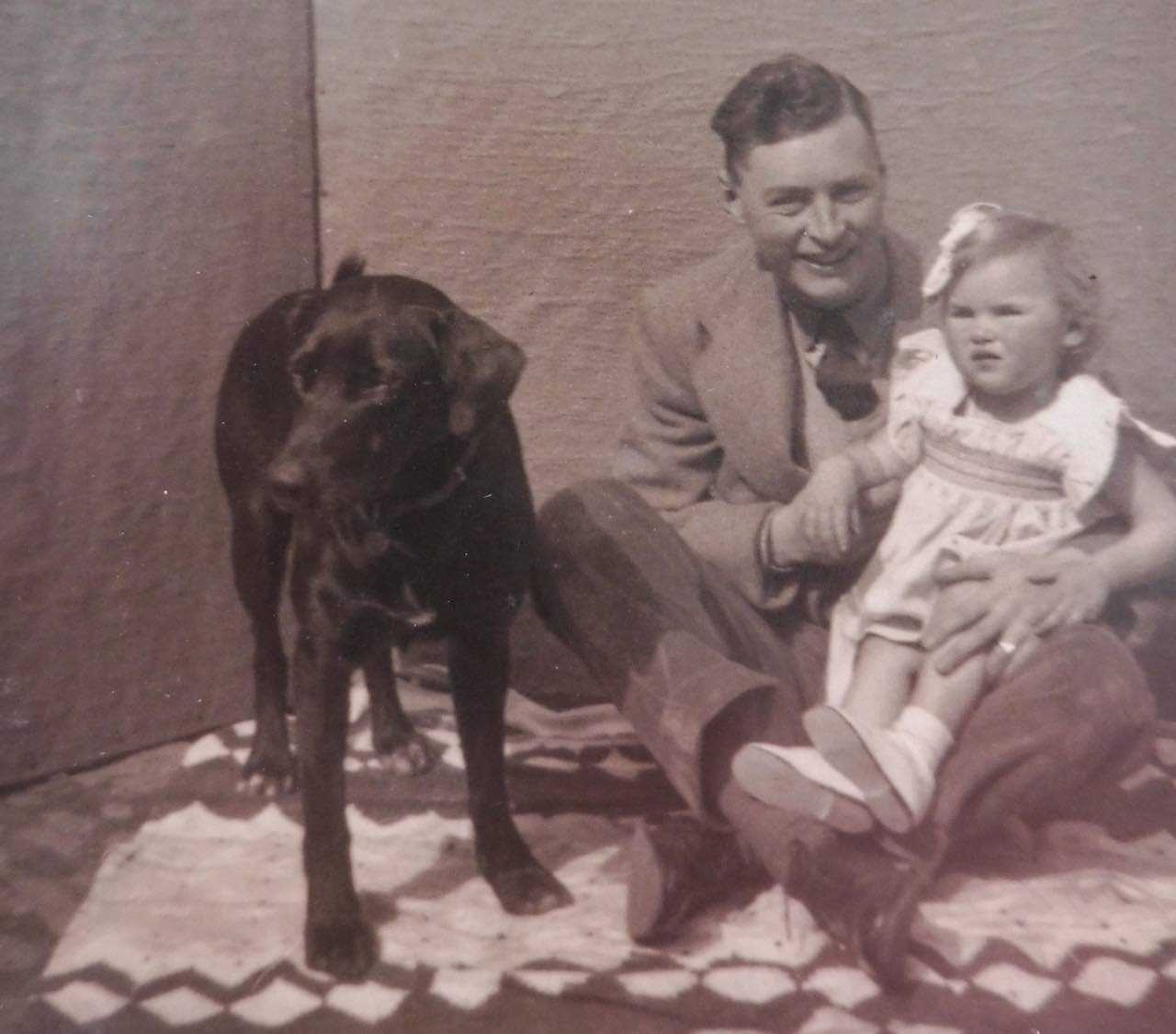 Roy Bradford with daughter & Smut the dog